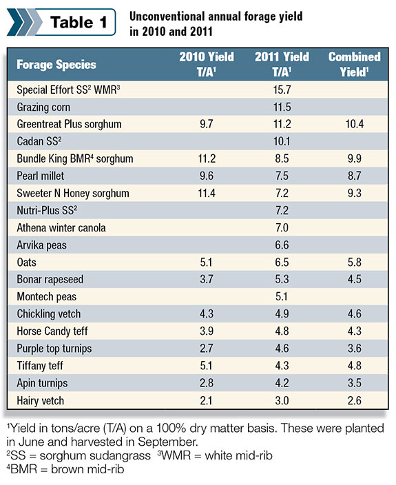 Unconventional annual forage yield in 2010/2011
