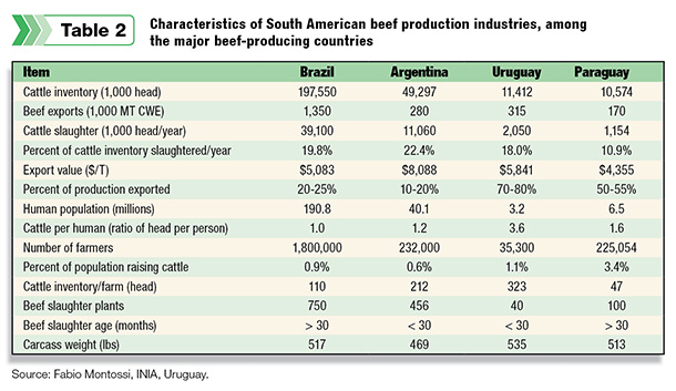 Characteristics of South American beef production