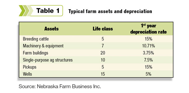 Typical farm assets and depreciations
