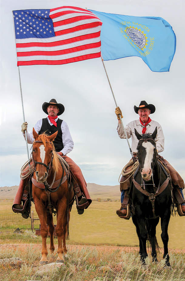 South Dakota cattleman Dean Wink was honored to bear South Dakota flag during the 51st Custer State Park Bufflo Roundup