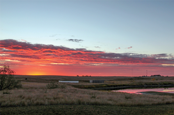An autumn sunrise at Wink Ranch, Howes , South Dakota