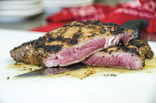 Rare-cooked steak from the Red River Steakhouse