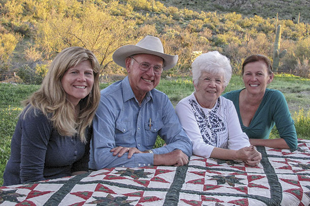 Chuck Backus with daughter Amy (left) wife Judy and daughter Beth