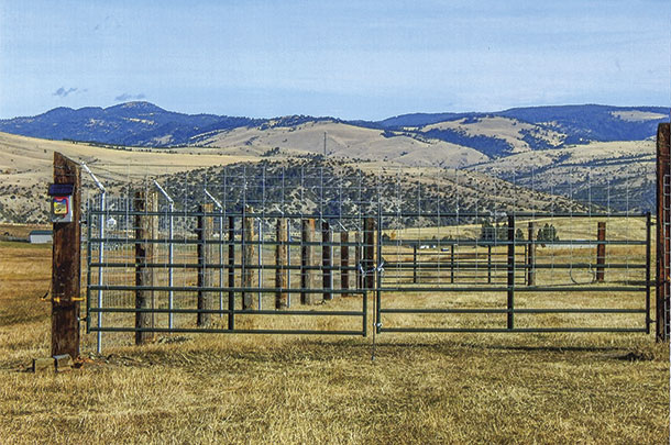 A completed permanent stackyard fence