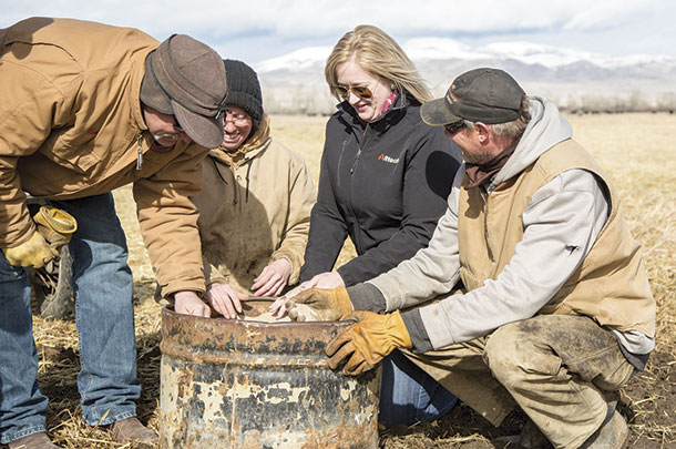 Dawn Schooley, Alltech territory sales manager (pictured in black), talks about minerals