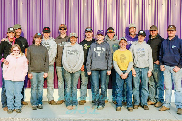 A crew of FFA kids from Westmoreland, Kansas, helped