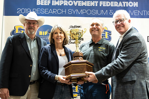 Burt Rutherford, Tracey and Bruce Mershon of Mershon Cattle LLC, and Lee Leachman