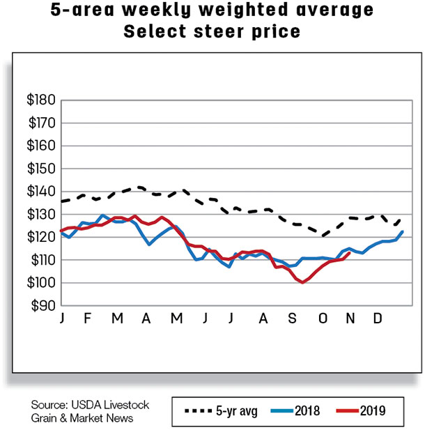 5-area weekly weighted average select steer price