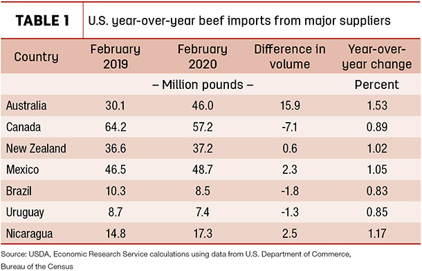 U.S. year-over-year beef imports from major suppliers