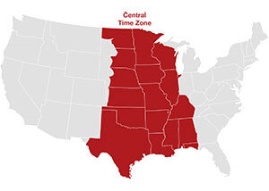Central time zone map