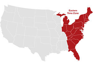 Eastern time zone map