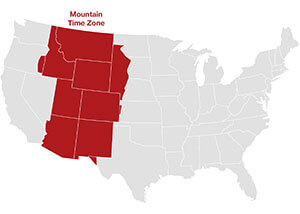 Mountain time zone map